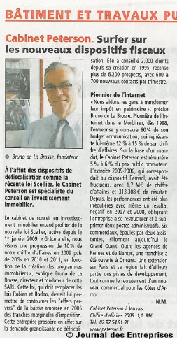 Article de journal, le cabinet Peterson, surfe sur la loi Scellier