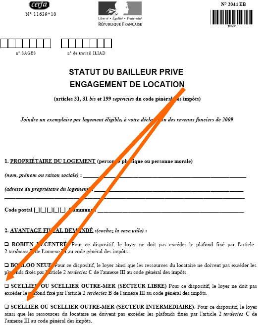 Formulaire 2044 EB pour la déclaration de revenus foncier
