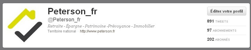 Profil de Peterson .fr sur Twitter 